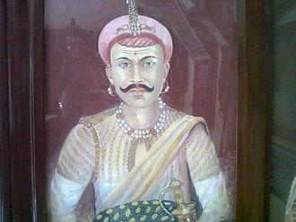 Chimaji Appa - A painting of Chimaji Ballal Peshwa near Parvati temple, a part of the Peshwa Memorial atop Parvati in Pune