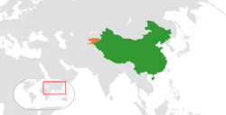 Map indicating locations of China and Kyrgyzstan