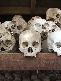 Victims of the Khmer Rouge preserved in a memorial stupa