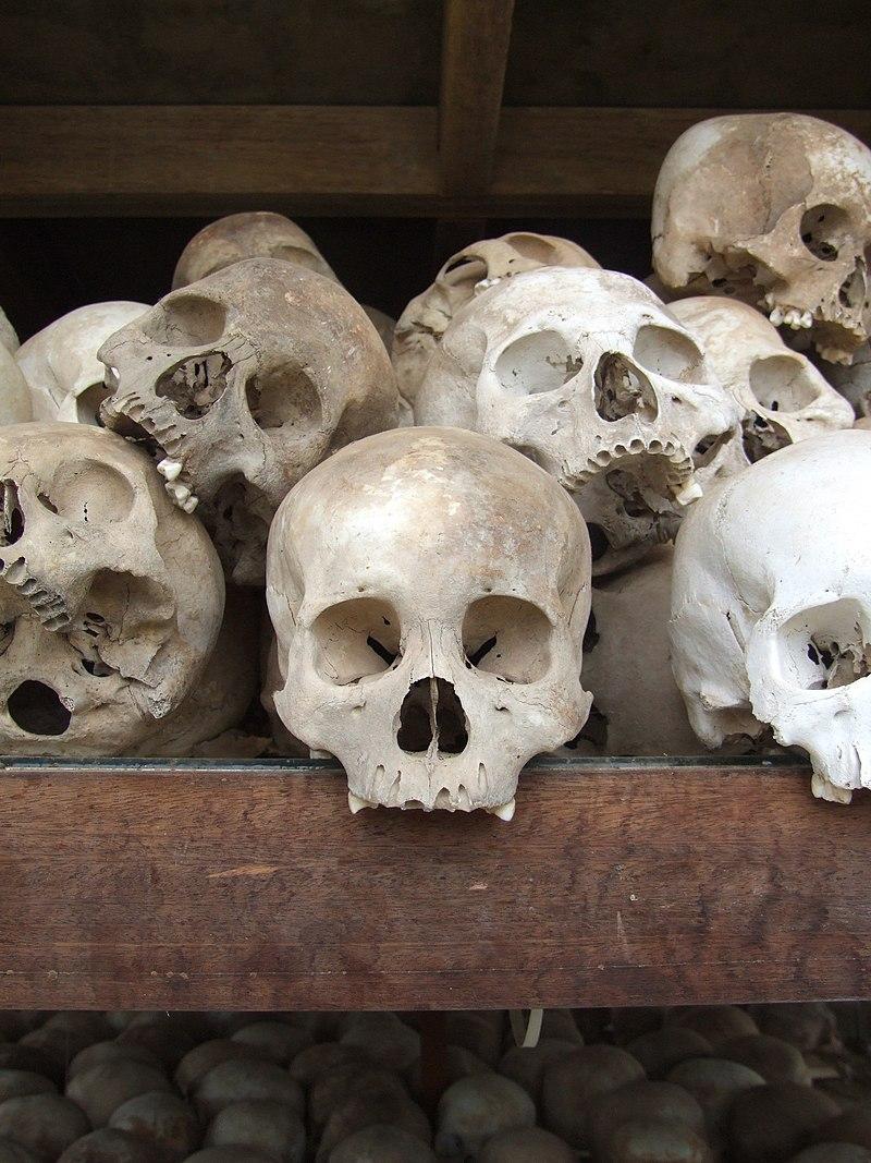 Choeung Ek stupa skulls.JPG