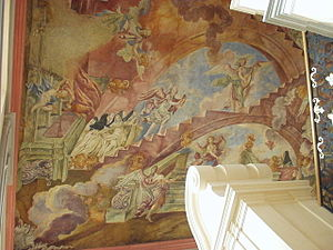 Chotěšov Abbey - Fresco above the main stairs. Nuns on the way up to the God.