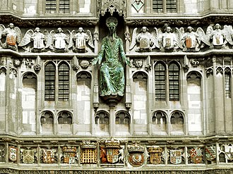 Arthur, Prince of Wales - Christ Church Gate, Canterbury Cathedral: arms of King Henry VII (centre) with arms of Prince Arthur (dexter) and his wife Catherine of Aragon (sinister). Probably built in honour of Prince Arthur