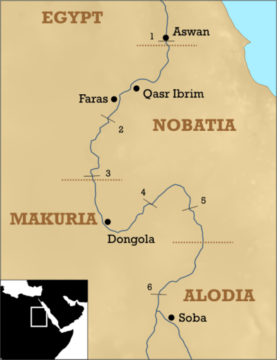 The three Christian Nubian kingdoms. The northern border of Alodia is unclear, but it also might have been located further north, between the fourth and fifth Nile cataract. Christian Nubia.png