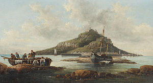 Circle of William Anslow Thornley - Coastal scene with islet and fishing folk; and another of fisherfolk on the shore (I).jpg