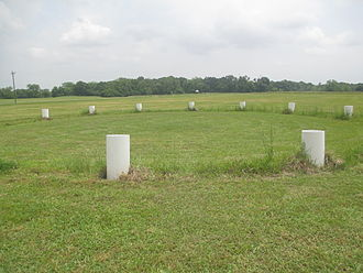 Cahokia Woodhenge - Concrete markers in the plaza area at Poverty Point