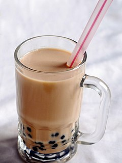 Bubble tea Taiwanese tea-based drink containing tapioca pearls