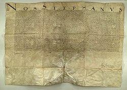 Digital scan of the Diploma signed by Stephan Bathory, dating 1581, establishing the Claudiopolitan Academy Societatis Jesu in Cluj