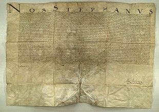 Scan numérique du diplôme signé par Stephan Bathory, datant de 1581, établissant l'Académie Claudiopolitaine Societatis Jesu à Cluj