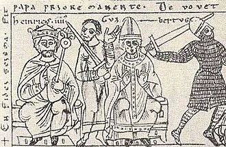 Henry IV, Holy Roman Emperor - Henry IV (left), count palatine Herman II of Lotharingia and Antipope Clement III (center), from Codex Jenensis Bose (1157)