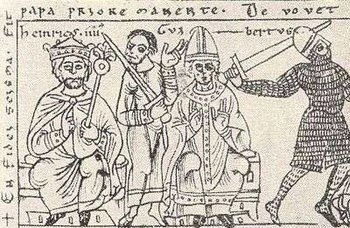 Antipope Clement III.  (middle) with Heinrich IV. (left) and the imperial sword-bearer Palatine Count Hermann II of Lorraine, illustration from Codex Jenensis Bose q.6 (1157)