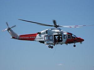 Her Majesty's Coastguard - HM Coastguard AgustaWestland AW139 helicopter over Yarmouth