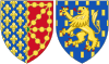 Coat of Arms of Joan II and Blanche of Burgundy as Queens Consort of Navarre.svg
