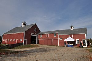 Cogswell's Grant - The 19th century barn; the rightmost portion is used for visitor facilities, while the balance is used for farm equipment and supplies.
