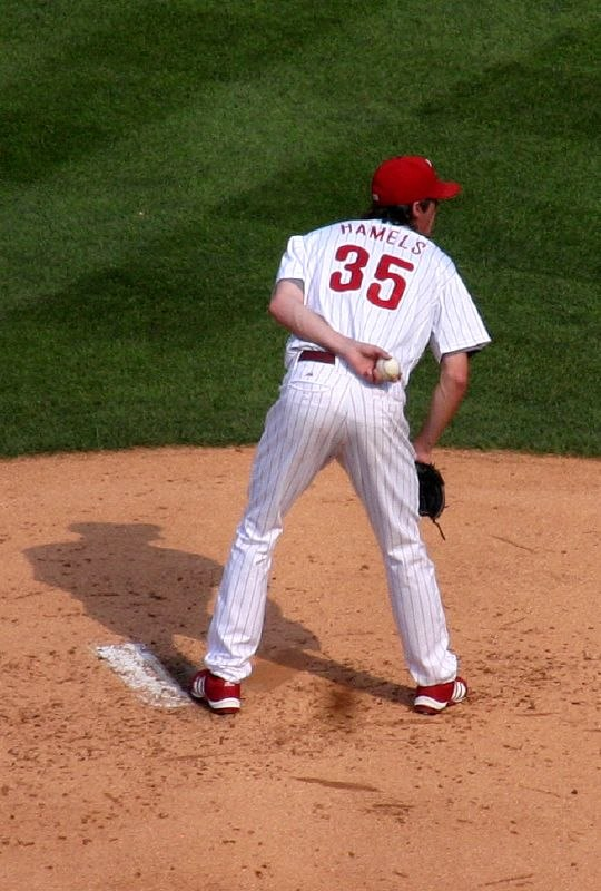 Cole Hamels pitching in 2007