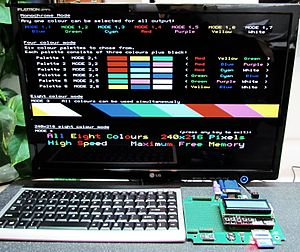 Maximite - Color Maximite (CircuitGizmos CGCOLORMAX1) showing all of the graphics modes