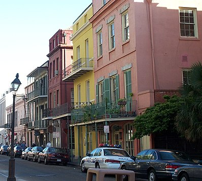 New Orleans contains many distinctive neighborhoods. Colorful houses in New Orleans.jpg