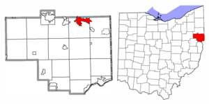 Location of Columbiana in Columbiana County and the State of Ohio