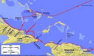 Voyages of Christopher Columbus - First voyage. Modern place names in black, Columbus's place names in blue