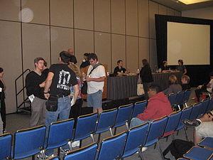 Comics Arts Conference - Scholars talk after a Comics Arts Conference panel session. July 2007.