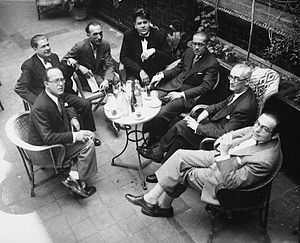 Ricard Lamote de Grignon - Members of the 'group of eight' or 'independent composers' of Catalunya. Left to right: Robert Gerhard, Agustí Grau, Joan Gibert Camins, Eduard Toldrà, Manuel Blancafort, Baltasar Samper and Ricard Lamote de Grignon. Missing is Frederic Mompou. (1931)