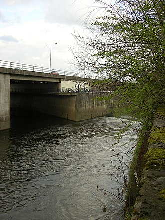 Stockport - The River Tame (left) and the River Goyt (right) meeting to form the Mersey