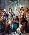 Consecration of the sabres of Tadeusz Kościuszko and Józef Wodzicki in Kraków in 1794.PNG