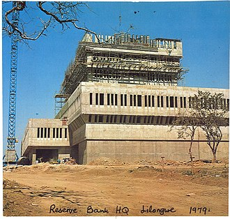 Timeline of Lilongwe - Image: Contruction of the Reserve Bank Headquarters in Lilongwe, 1979