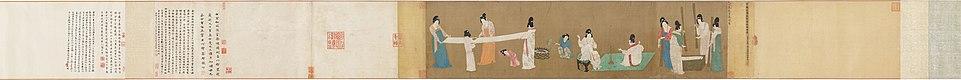 Dames de la Cour préparant la soie à tisser