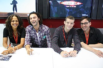 Being Human (UK TV series) - Being Human cast (from left to right, Lenora Crichlow, Aidan Turner, Russell Tovey) and the series creator, Toby Whithouse