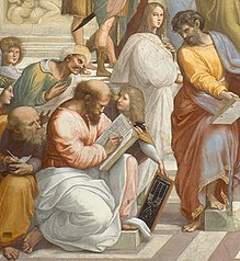 Scene from Raphael's School of Athens showing Pythagoras as a balding, bearded man writing in a book with a quill. He is dressed in a long-sleeved tunic with a cloak spread across his legs as he kneels to write, using his left thigh to support the book. In front of him, a boy with long hair presents him with a chalk board showing a diagrammatic representation of a lyre above the symbol of the tetractys. Averroes, shown as a stereotypical Middle Easterner with a mustache and wearing a turban, peers over his left shoulder while another bearded, balding philosopher in classical garb, probably Anaxagoras, peers over his right shoulder, taking notes into a much smaller notepad. A very feminine looking figure with long hair stands behind the boy, dressed in a white cloak.