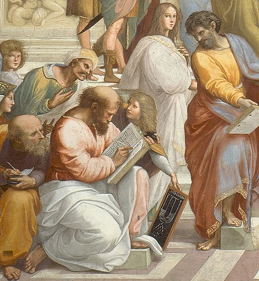 Cropped image of Pythagoras from Raphael's School of Athens