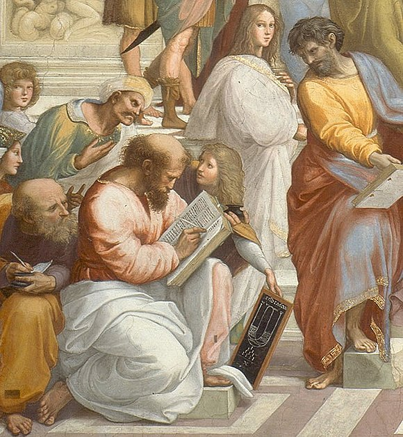 In Raphael's fresco The School of Athens, Pythagoras is shown writing in a book as a young man presents him with a tablet showing a diagrammatic representation of a lyre above a drawing of the sacred tetractys. Cropped image of Pythagoras from Raphael's School of Athens.jpg