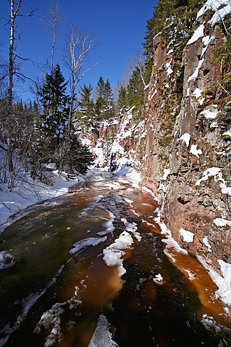 Superior Hiking Trail - Crow Creek in winter from the SHT