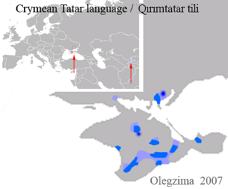 Crimean Tatar language Turkic language spoken in Crimea, Central Asia (mainly in Uzbekistan), and the Crimean Tatar diasporas in Turkey, Romania, Bulgaria