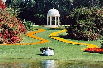 Cypress Gardens - The Gazebo and a Southern belle of Cypress Gardens