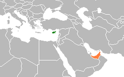 Map indicating locations of Cyprus and United Arab Emirates