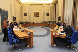 Government of the Czech Republic - Cabinet room of the Government in Straka Academy.