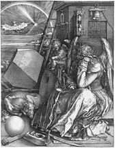 work of visual art: Albrecht Dürer engraving Melancholia I from 1541 seated angel contemplating figure