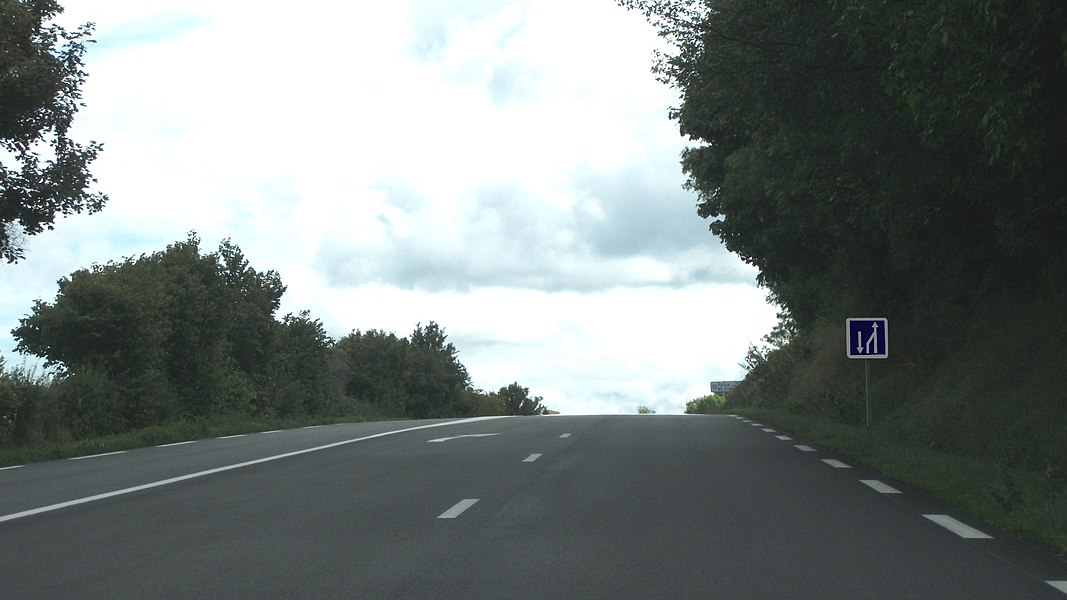 Position sign of the end of an overtaking zone in Cognat-Lyonne