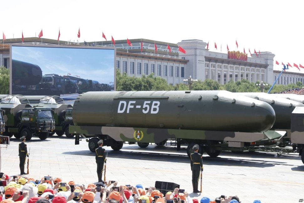 DF-5B intercontinental ballistic missiles during 2015 China Victory Day parade