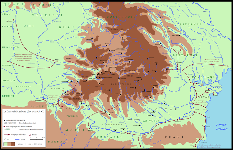Fișier:Dacia around 60-44 BC during Burebista, including campaigns - French.png