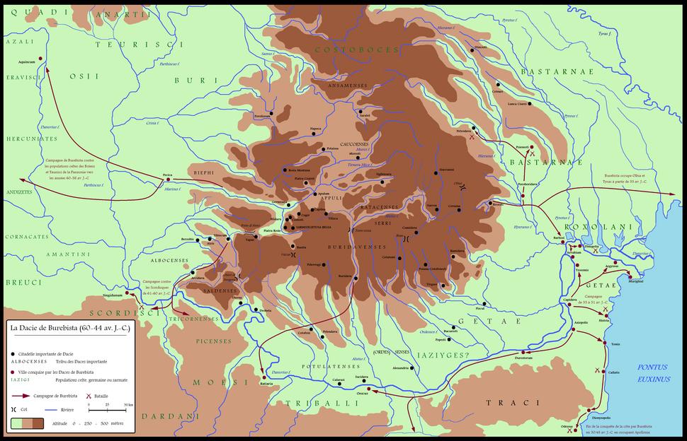 Dacia around 60-44 BC during Burebista, including campaigns - French