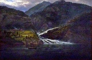 View of the Tyssefoss in Bolstadfjord