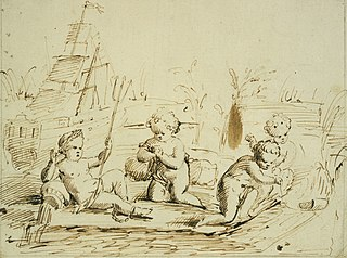 Design for a relief with four cherubs, symbolising shipping