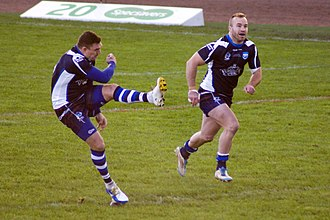 Ian Henderson (rugby league) - Henderson (right) and Danny Brough playing for Scotland in 2013 Rugby League World Cup game against Italy.