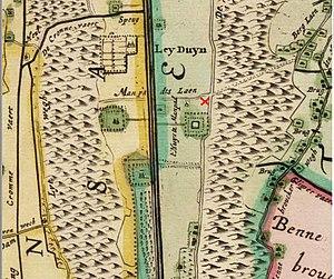 De Naald, Heemstede - Red X shows site 'De Naald' on old map of Heemstede