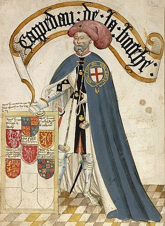 Jean III de Grailly, captal de Buch - Jean III de Grailly, Captal de Buch, KG, illustration from the Bruges Garter Book, c.1430