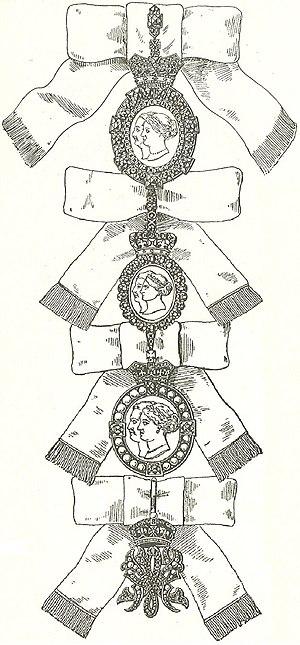 De vier graden van de Orde van Koninklijke Victoria en Albert.jpg