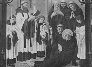 Surplice - The Death of St. Bede, the monastic clergy are wearing surplices over their cowls (original painting at St. Cuthbert's College, Ushaw).