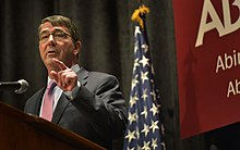 Defense Secretary Ash Carter delivers remarks to the student body of his alma mater Abington Senior High School in Abington, Pa., March 30, 2015 150330-D-NI589-698.jpg